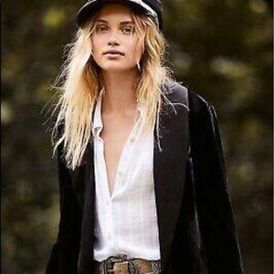 Free People black velvet tuxedo style jacket
